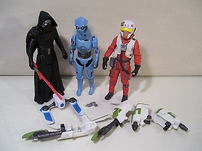 Lot Of 3 Star Wars Force Awakens Action Figures Asty Kylo Ren Pz-4Co Droid