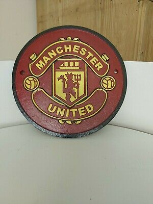 Heavy Cast Iron Manchester United FC Wall Plaque Sign Red Devils Man Utd REDS