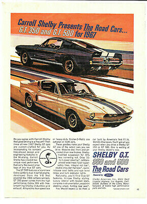 1967 SHELBY AMERICAN COBRA G.T 500 FORD MUSTANG ORIGINAL AD BOAT DOCK BLUE
