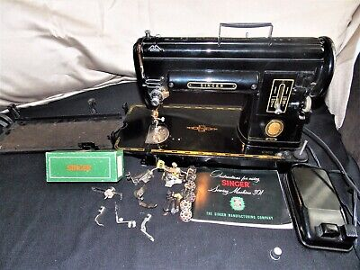 Singer 301 Slant Needle Sewing Machine With Manual And Accessories