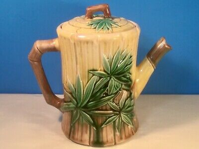 Very Pretty and Old ETRUSCAN Majolica Bamboo & Palm Leaf Teapot Excellent Colors