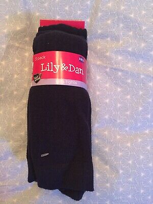 Lily & Dan- 3 Pairs of Blue Cotton Rich Tights. Aged 10/11. New.