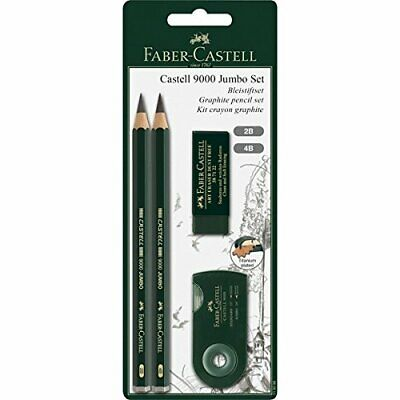 Faber-Castell, 4 Piece, Castell 9000 Jumbo Set, Graphite Pencil Set