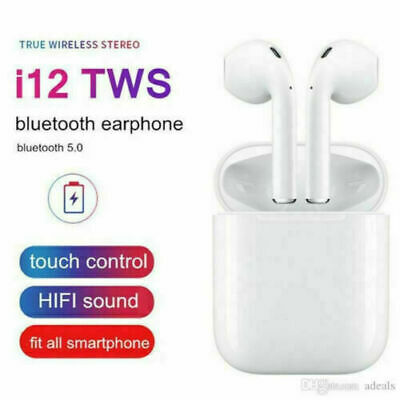 I12 Tws Wireless Airpods Bluetooth 5.0 Earphones Touch Control Earbuds Brand New