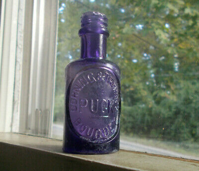 1870s CORNING & TAPPAN'S PUCK BOUQUET AMETHYST HAND BLOWN PERFUME COLOGNE BOTTLE