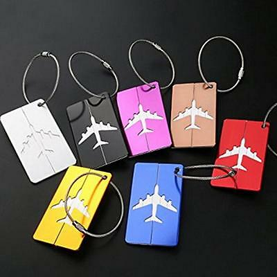 7x Travel Aluminium Luggage Tags Suitcase Label Name Address ID Baggage Bag Tag