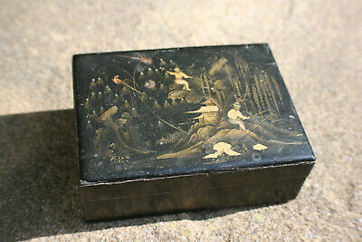 Antique Chinese Wooden Lacquered with Gilt Painted Picture Small Trinket Box