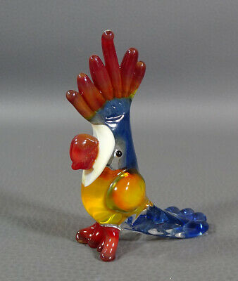 "1960s Vtg Italian Murano Art Hand Blown Glass Parrot Bird Figurine 3 1/8"" Figure"