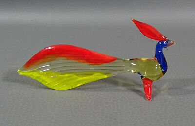"1960 Italian Murano Hand Blown Glass Peacock Bird Figurine 4""x2""Sculpture Figure"