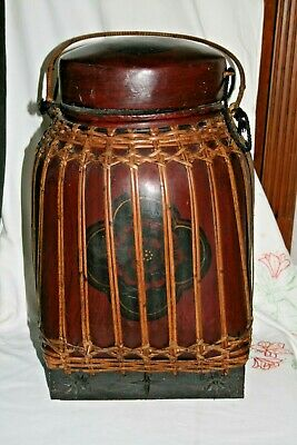 Vintage Lacquered paper mache /reed/bamboo  Chinese Basket  Lidded Grain Basket