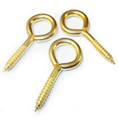 50, SCREW EYES BRASS PLATED 20mm x 2mm PICTURE FRAMING FRAME HANGING HOOKS CRAFT