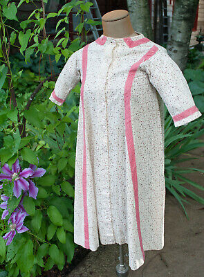 Antique Child's Calico Dress 1860 Cotton with Pink Trim