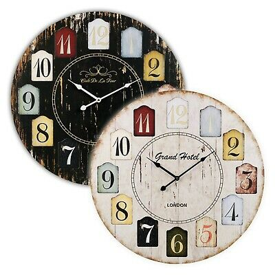 Large 60cm Shabby Chic Wall Clock Home Decor Modern Round Number Time Display