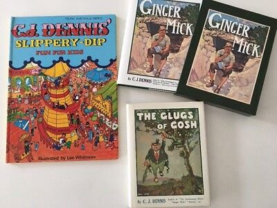 3x Vintage Books BY C J DENNIS Slippery Dip GINGER MICK & case THE GLUGS OF GOSH