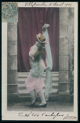 Photogravure nude woman exotic Belly Dancer original 1900s postcard