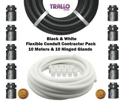 Premium Black/White Flexible Conduit Contractor Pack 10m 10 Glands 16,20,25,32mm