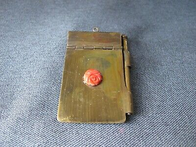 Vintage celluloid flower metal note pad working with mechanical pencil pendant