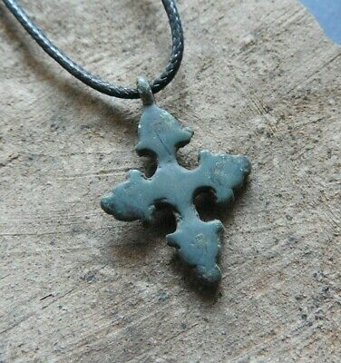 Genuine cross Bronze Cross Wearable Beautiful Pendant 10-13 century A.D. Authent