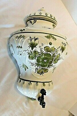 Vintage Porcelain Lavabo Wall Hanging with Bronze Spigot Made in Italy
