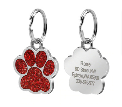 Anti Lost Personalized Dog ID Tag 6 Colors Stain Steel Engraved Dog Tags Dog Paw