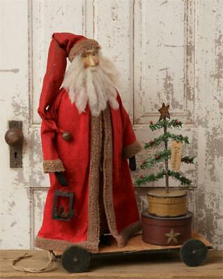 New Primitive Country Colonial ANTIQUE SANTA DOLL CHRISTMAS TREE Wagon Cart