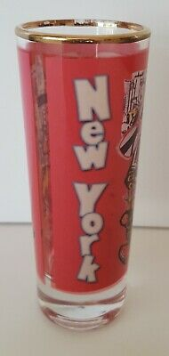 "DOUBLE SHOT GLASS U GO GIRL NEW YORK PINK COLLAGE GOLD RIM 4"" TALL HOLDS 2 oz"