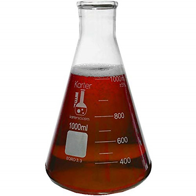 3.3 Borosilicate Glass, Karter Scientific 1000ml Narrow Mouth Erlenmeyer Flask,