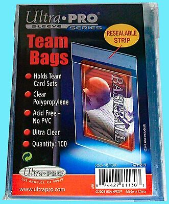 100 Ultra Pro TEAM SET BAGS w/ Resealable Strip Card Toploader Sleeves sports