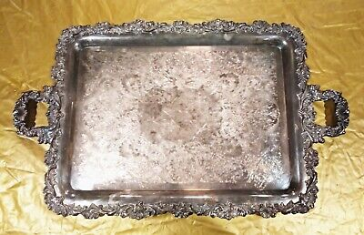 Silver Plated Large Footed Tray with Handles