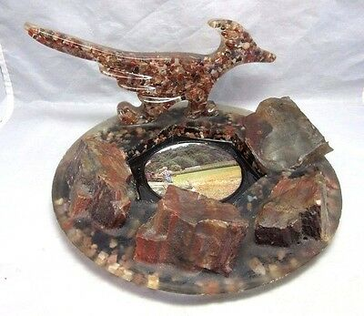 Vintage souvenir petrified wood in lucite road runner dish. Indiana