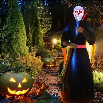 12ft Halloween Inflatable Ghost with Skull LED Light Yard Outdoor Decorations