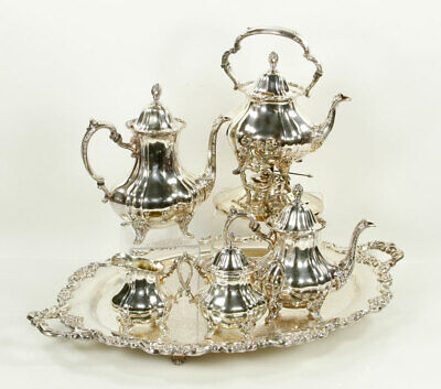 Lancaster Rose EPNS 400 Coffee Tea Service Silver Plate Footed By Poole 6 piece