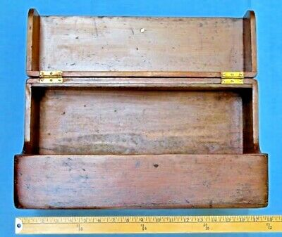 VTG carpenter wood tool storage box drop down 1940s antique fall front