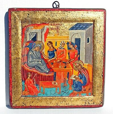 """ANTIQUE Orthodox ICON """"NATIVITY of the MOTHER OF GOD"""" - 12 x 12 Wood panel"""