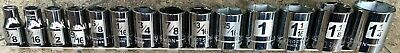 14 Piece Laser-Etched Craftsman 1/2 In Drive 6 Point Sae Socket Set Usa Made