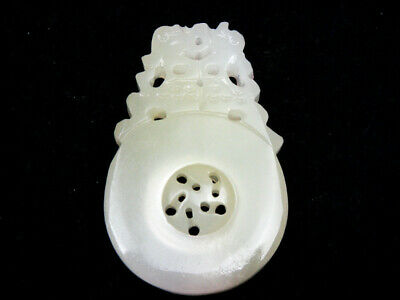Creamy White Jade Hand Carved In Relief Pendant 2 Monster Spin Center #08211901