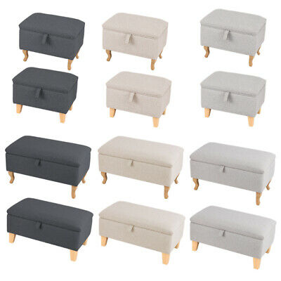 Linen Storage Ottoman Pouffe Seat Foot Stool Storage Box With Solid Wood Legs Uk