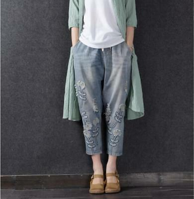 Womens Fashion Retro Embroidery Loose Denim Pants Girls Summer Jeans Trousers