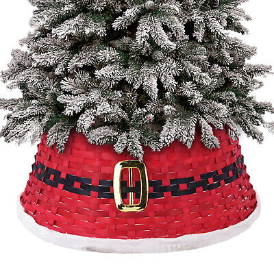 Christmas Tree Base Cover Skirt Red Santa Stand Decorations Rattan Wicker Wood