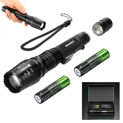 UK 900000LM T6 LED Rechargeable High Power Torch Flashlight Lamps Light &Charger