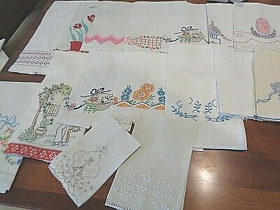 Large Collection of Antique Hand Towels 16 towels various needlework