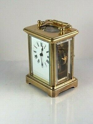 Genuine antique brass carriage clock & key. Restored and serviced in Oct. 2019.