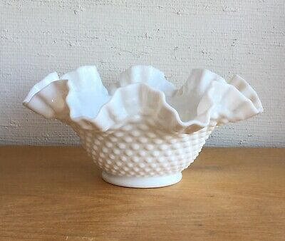 Vintage White Fenton Hobnail Milk Glass Ruffled Bowl
