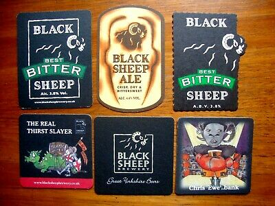 LARGE EXCELLENT QUALITY x6 NEW COASTERS BLACK SHEEP BREWERY BEER MATS