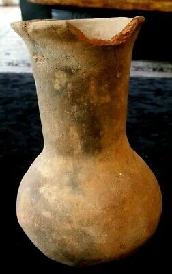 """Pre-Columbian water vessel pot chipped rim 7"""" tall 4.5"""" wide very old terra/clay"""
