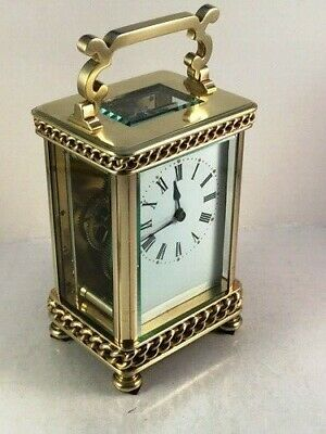 Good Quality Antique Brass Carriage Clock With Pretty Case & Handle. Key.