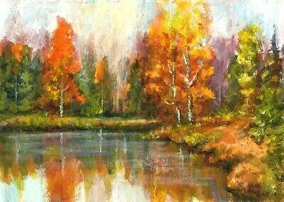 ACEO Autumn river Fall trees painting original landscape acrylic art card