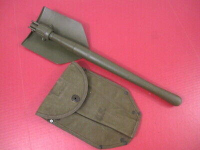 WWII US Army M1943 Entrenching Tool Shovel & Canvas Cover Carrier - Wood 1944 #1