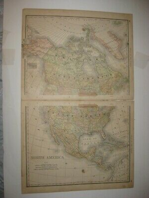 Large Antique 1880 North America 2 Sheet Map United States Canada Alaska Fine Nr