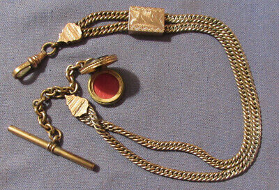Antique Gold Filled Watch Slide Chain Engraved Intaglio Locket Fob 13 Inches